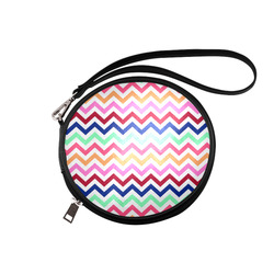 Multicolor CHEVRONS Pattern Pink Turquoise Coral Blue Red Round Makeup Bag (Model 1625)
