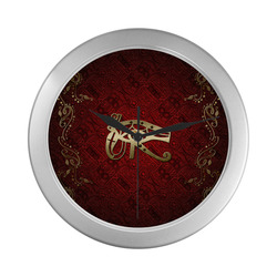 The all seeing eye in gold and red Silver Color Wall Clock