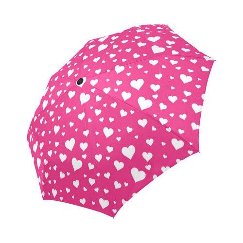Hearts Bright Pink Auto-Foldable Umbrella (Model U04)