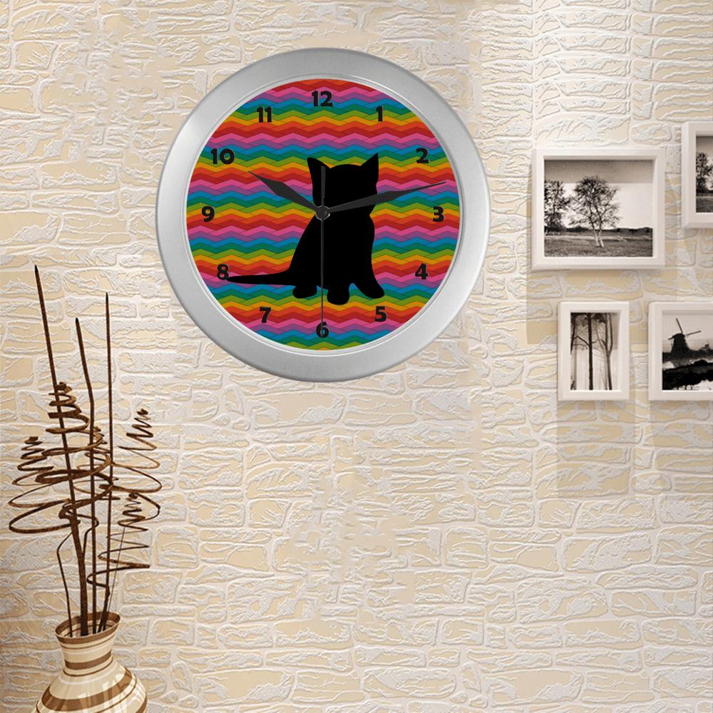 Lovely Kitten Shape Silver Color Wall Clock