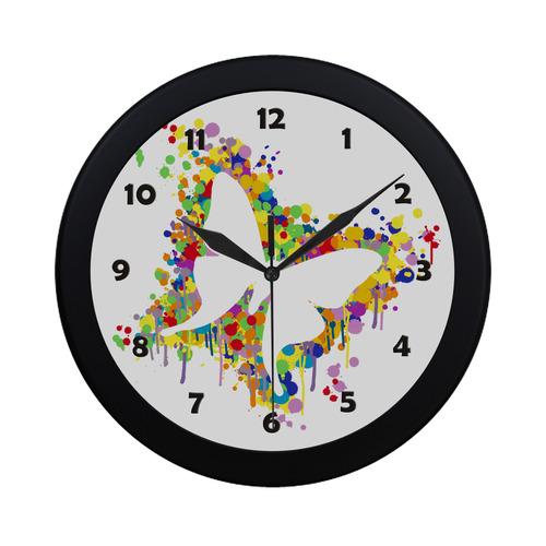 Dancing Butterfly Splash Circular Plastic Wall clock