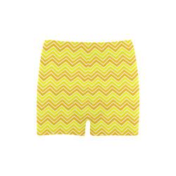 Chevron - Bright Yellow Briseis Skinny Shorts (Model L04)