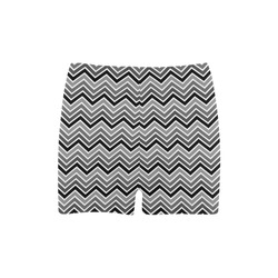 Chevron - Black and Gray Briseis Skinny Shorts (Model L04)