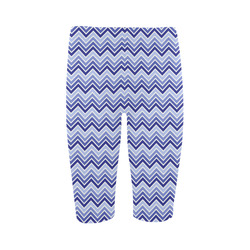 Chevron - Blue Hestia Cropped Leggings (Model L03)