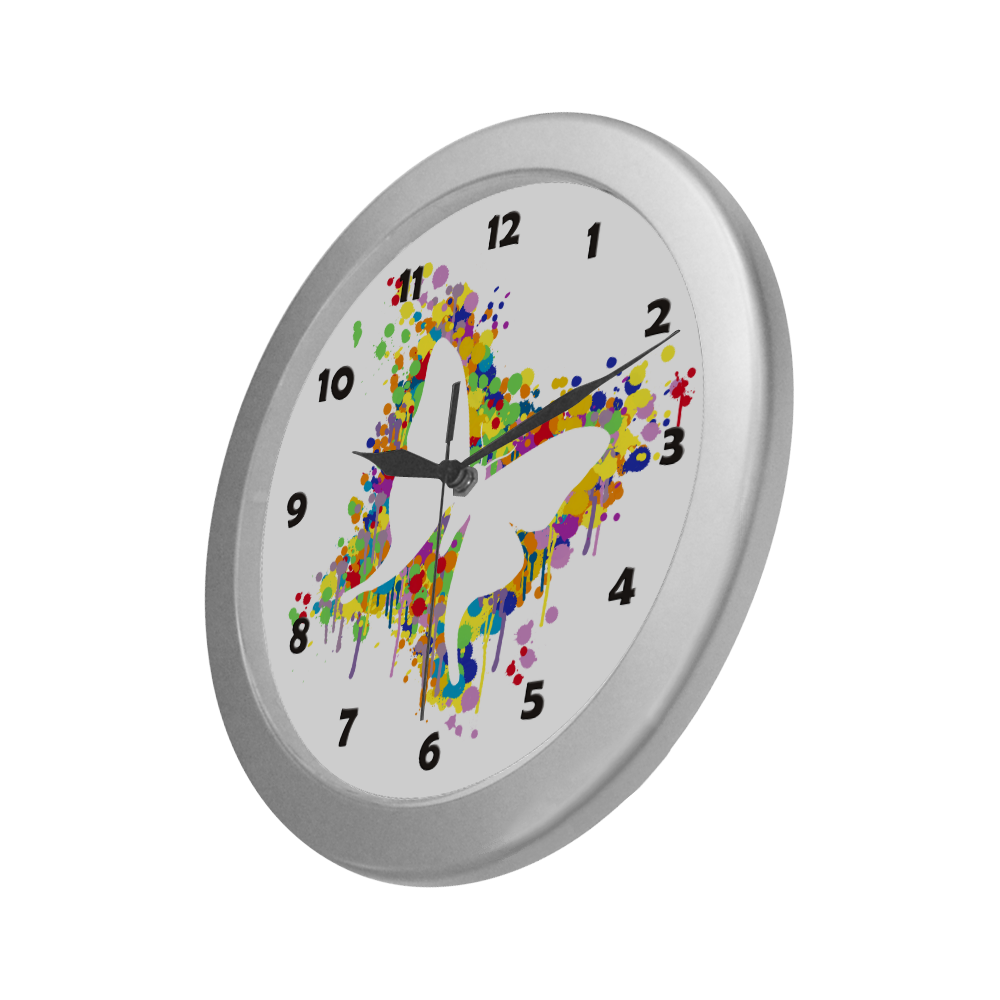 Dancing Butterfly Splash Silver Color Wall Clock