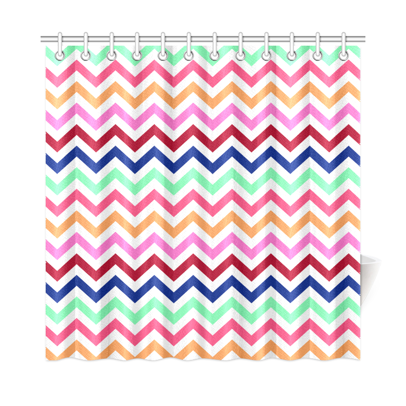 """CHEVRONS Pattern Multicolor Pink Turquoise Coral Blue Red Shower Curtain 72""""x72"""""""