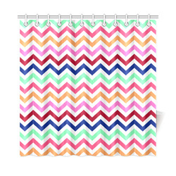 "CHEVRONS Pattern Multicolor Pink Turquoise Coral Blue Red Shower Curtain 72""x72"""