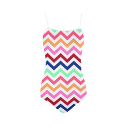 CHEVRONS Pattern Multicolor Pink Turquoise Coral Blue Red Strap Swimsuit ( Model S05)