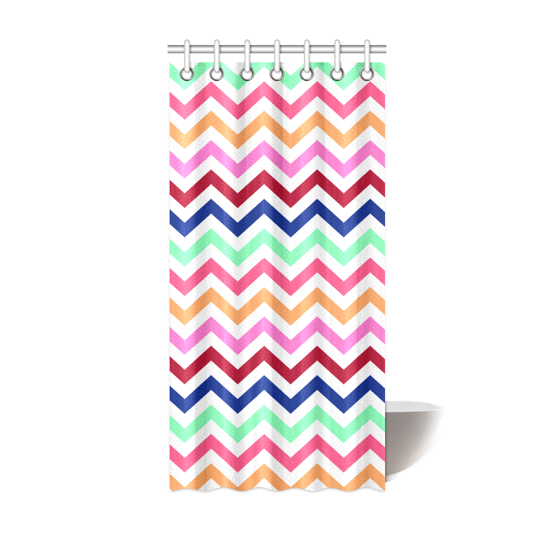 "CHEVRONS Pattern Multicolor Pink Turquoise Coral Blue Red Shower Curtain 36""x72"""