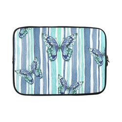 Watercolor Butterflies & Stripes Blue Cyan Custom Laptop Sleeve 15''
