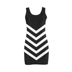 Modern Black Background Chevron Stripes Cut Medea Vest Dress (Model D06)