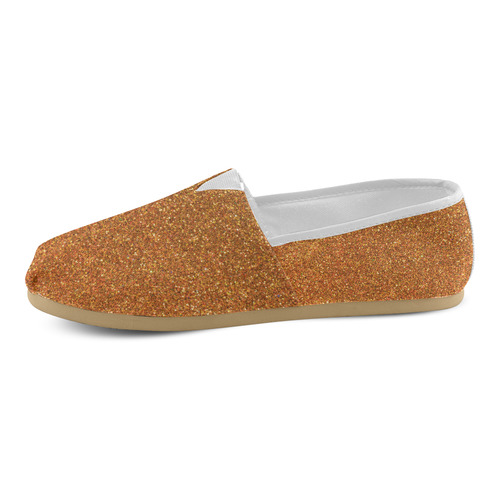 Sparkles Gold Glitter Unisex Casual Shoes (Model 004)