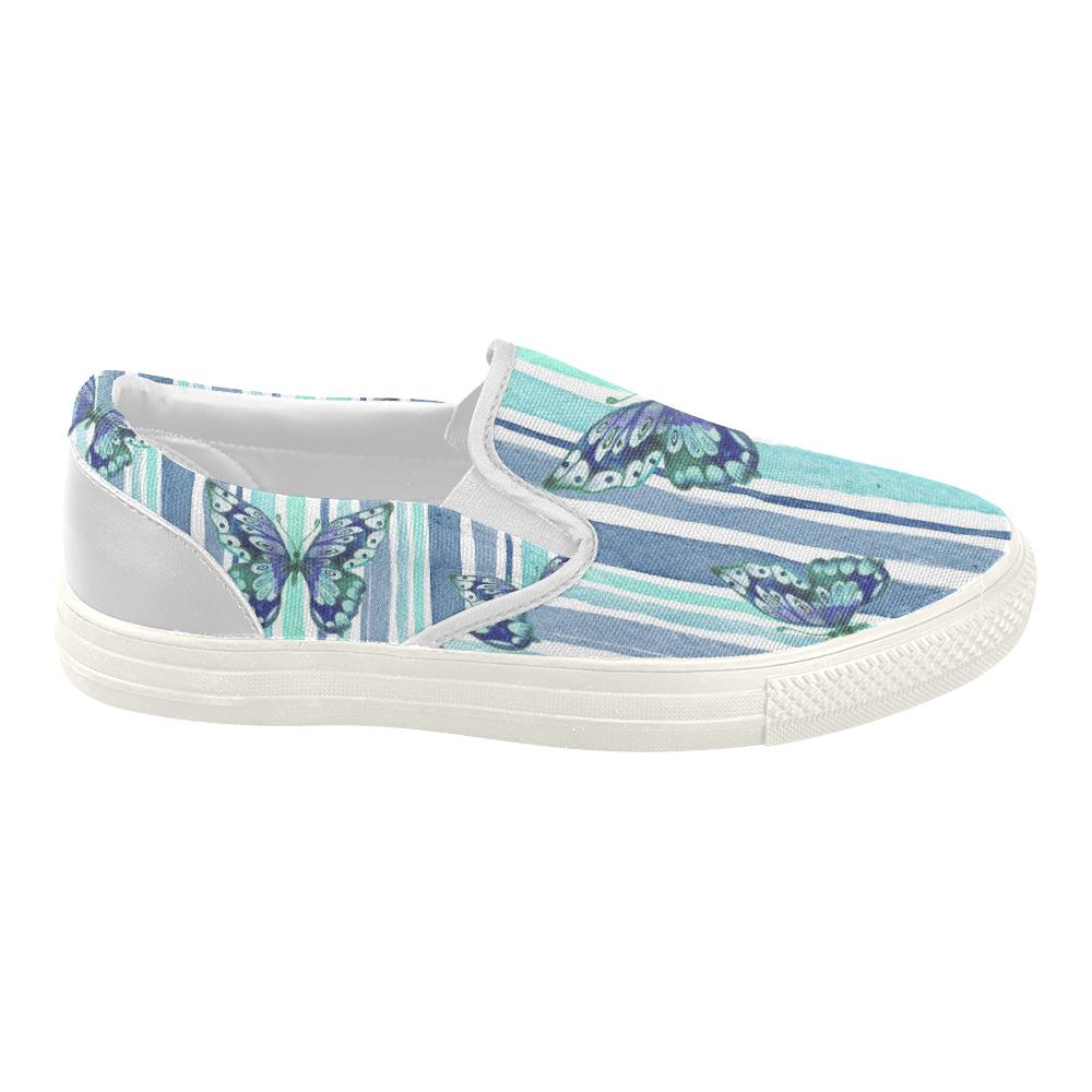 Watercolor Butterflies & Stripes Blue Cyan Women's Slip-on Canvas Shoes (Model 019)