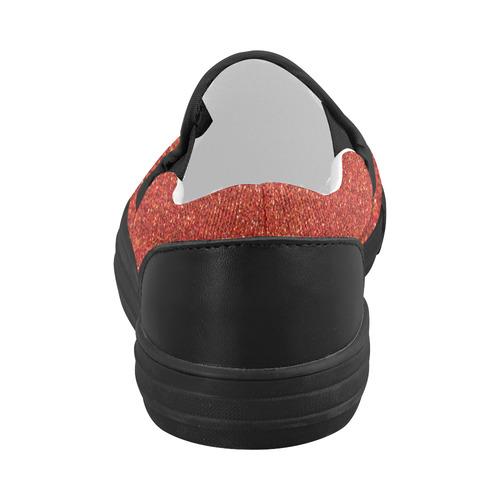 Sparkles Red Glitter Women's Slip-on Canvas Shoes (Model 019)