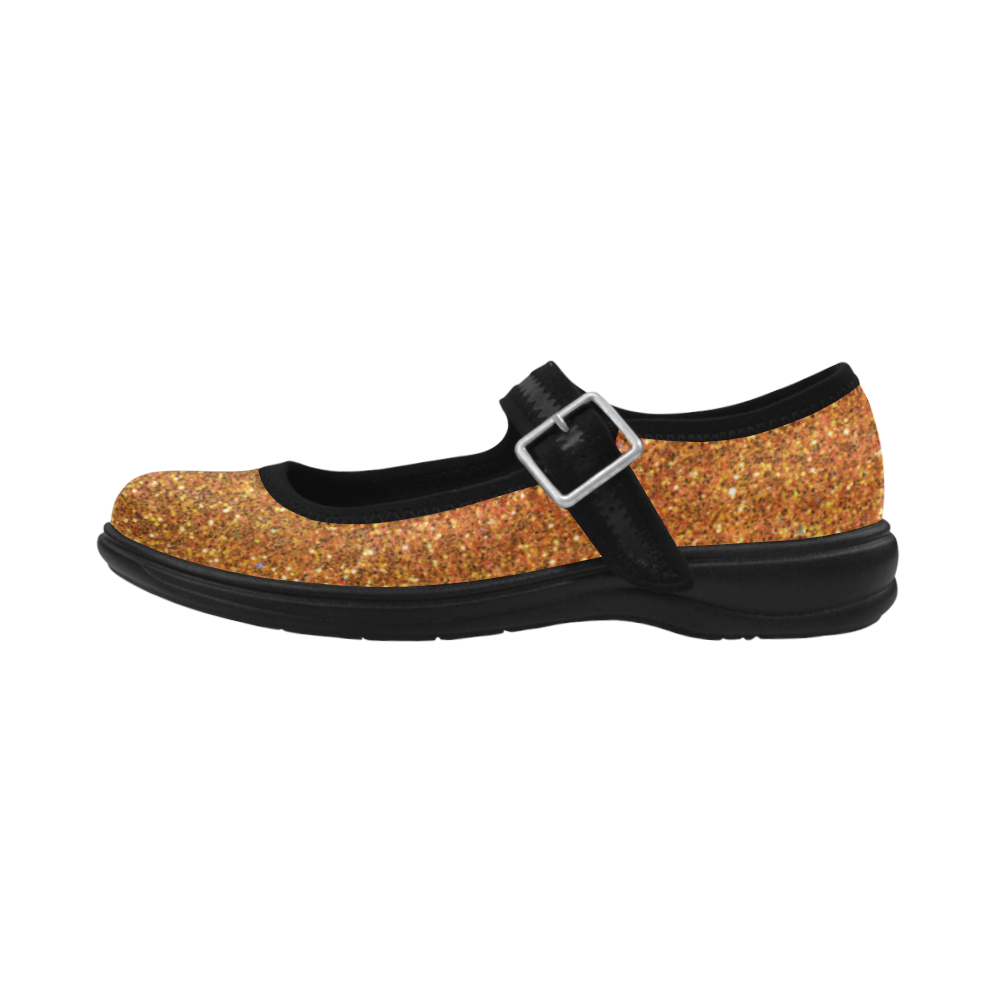 Sparkles Gold Glitter Virgo Instep Deep Mouth Shoes