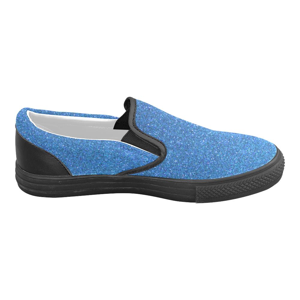 Sparkles Light Blue Glitter Women's Unusual Slip-on Canvas Shoes (Model 019)