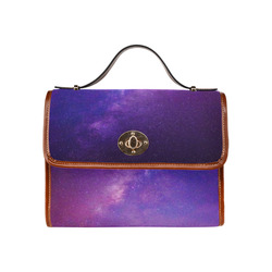 Purple Blue Starry Night Sky Waterproof Canvas Bag/All Over Print (Model 1641)