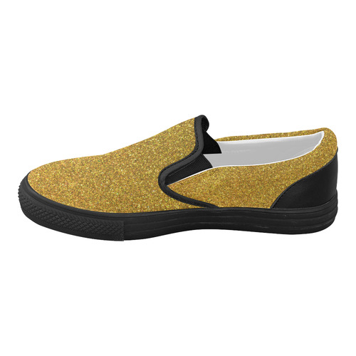 Sparkles Yellow Glitter Women's Slip-on Canvas Shoes (Model 019)