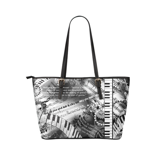 Best Piano gift Mozart Classical Music Art by Juleez Leather Tote Bag/Large (Model 1651)