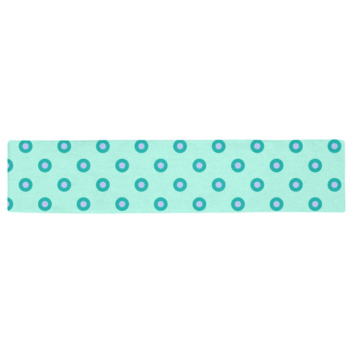 pink and green circles Table Runner 16x72 inch