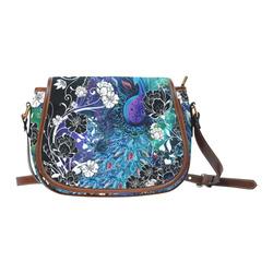 Juleez Peacock Blue Teal Art Print Saddle Bag/Small (Model 1649) Full Customization