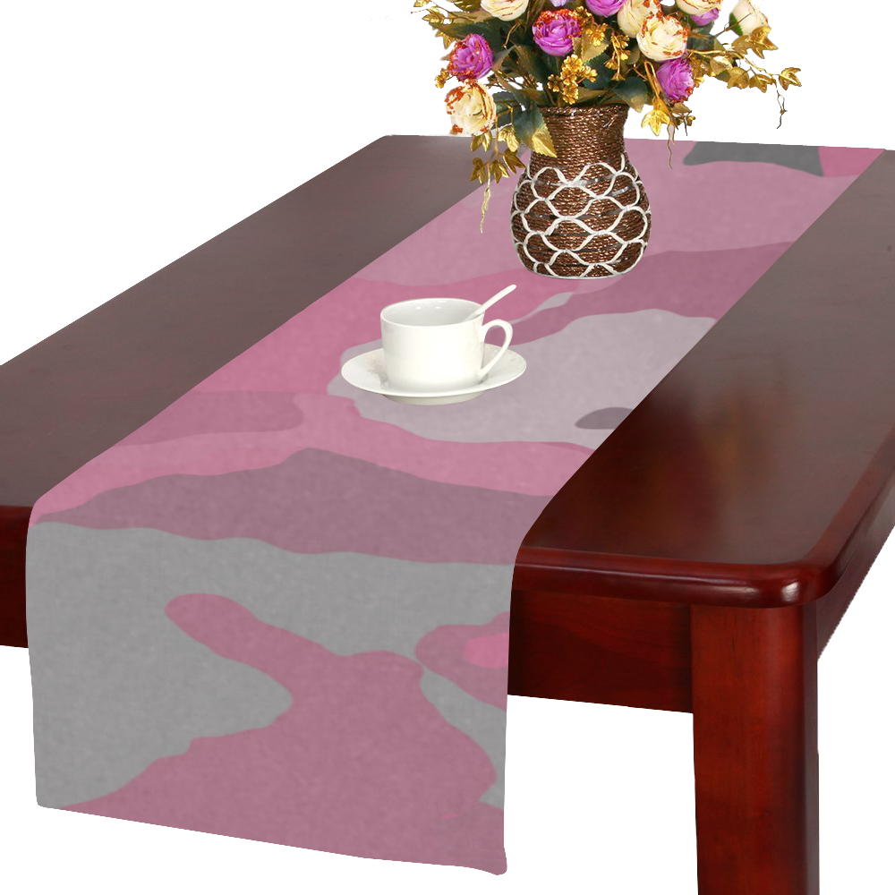 pink and gray camo Table Runner 16x72 inch