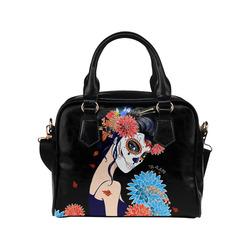 Sugar Skull and Flower Shoulder Handbag (Model 1634)