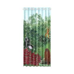 "Henri Rousseau Tropical Forest Monkeys New Window Curtain 50"" x 108""(One Piece)"