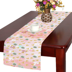 watercolor flowers pink gold Table Runner 14x72 inch