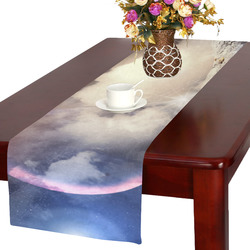Planets in Fantastic Space Against Dark Table Runner 16x72 inch