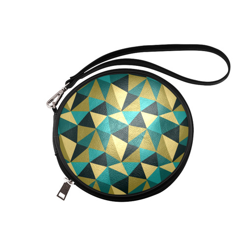 Black Gold Turquoise Abstract Triangles Round Makeup Bag (Model 1625)