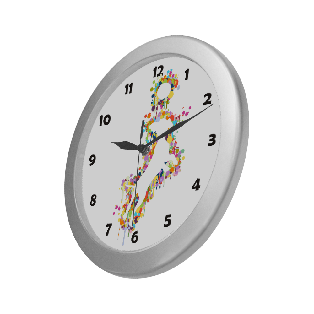 Playing Dog with Ball Silver Color Wall Clock