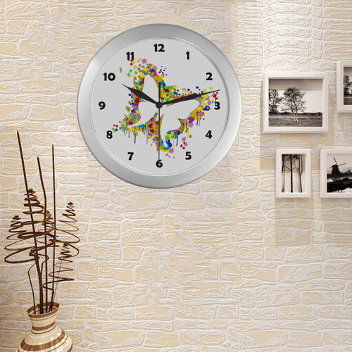 Dancing Butterfly Splash Silver Color Wall Clock