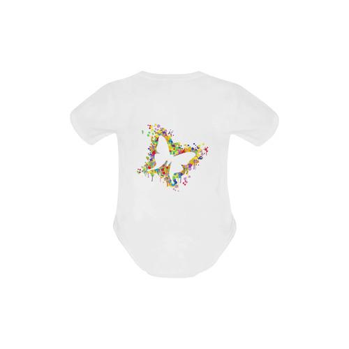 Dancing Butterfly Splash Baby Powder Organic Short Sleeve One Piece (Model T28)
