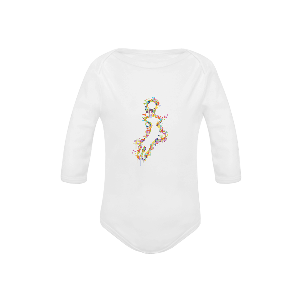 Playing Dog with Ball Baby Powder Organic Long Sleeve One Piece (Model T27)