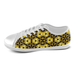 Golden Metallics Lights Kaleidoscope Mandala 5 Women's Canvas Shoes (Model 016)