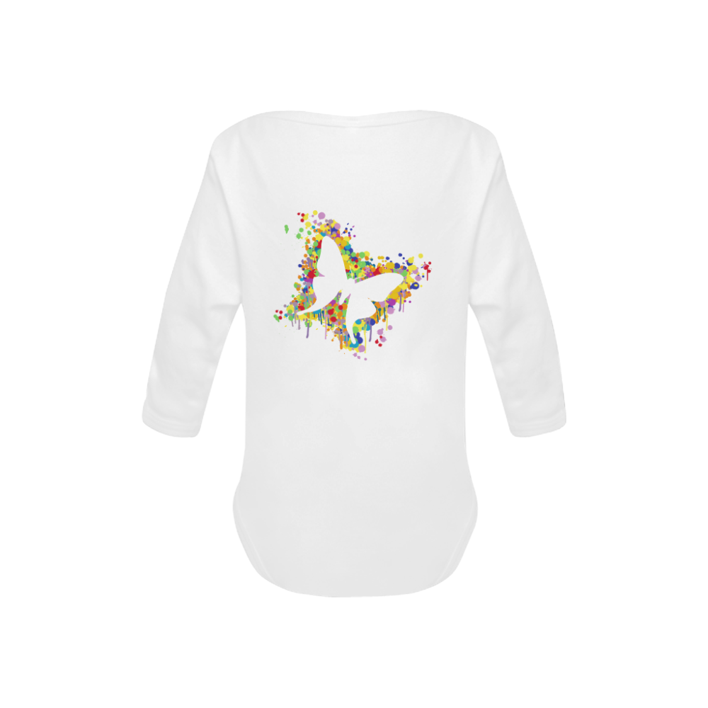 Dancing Butterfly Splash Baby Powder Organic Long Sleeve One Piece (Model T27)