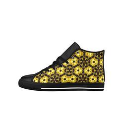 Golden Metallics Lights Kaleidoscope Mandala 5 Aquila High Top Microfiber Leather Women's Shoes (Model 027)