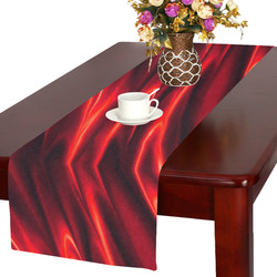 Elegant Fire Red Waves Table Runner 16x72 inch