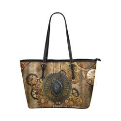 Steampunk, elegant, noble design Leather Tote Bag/Large (Model 1651)