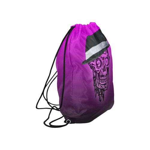 "elegant skull with hat,hot pink Large Drawstring Bag Model 1604 (Twin Sides)  16.5""(W) * 19.3""(H)"