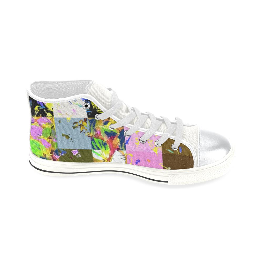 Foliage Patchwork #3 - Jera Nour High Top Canvas Women's Shoes/Large Size (Model 017)