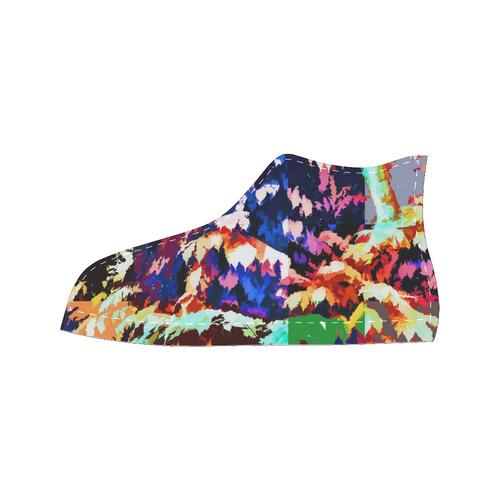 Foliage Patchwork #7 - Jera Nour High Top Canvas Women's Shoes/Large Size (Model 017)