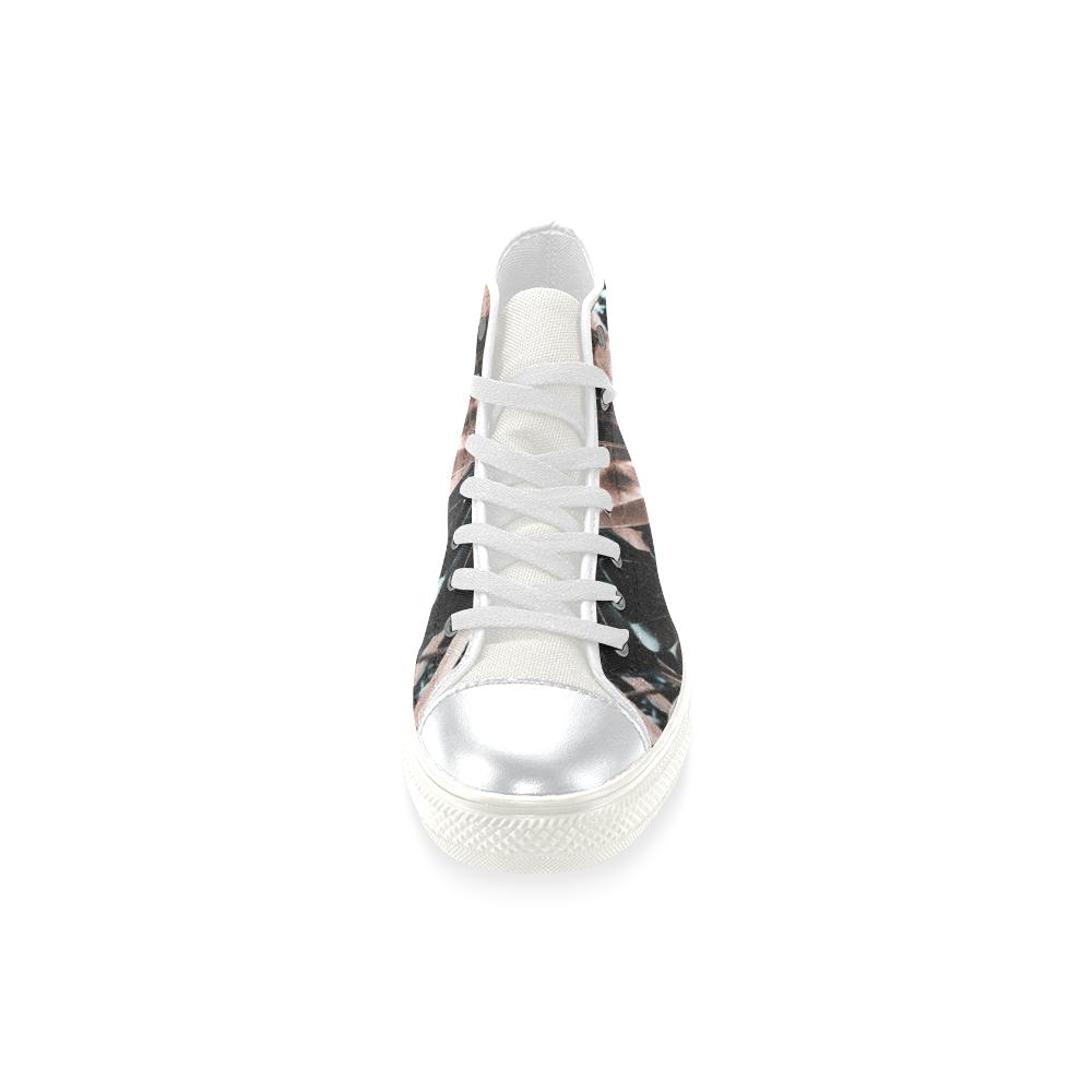 Foliage #5 - Jera Nour High Top Canvas Women's Shoes/Large Size (Model 017)
