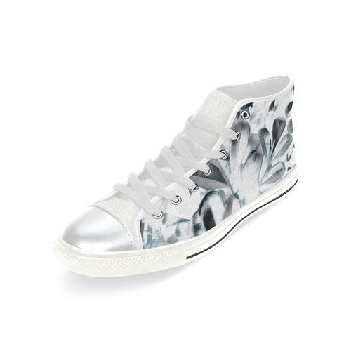 Foliage #1 Blue Edge - Jera Nour High Top Canvas Women's Shoes/Large Size (Model 017)