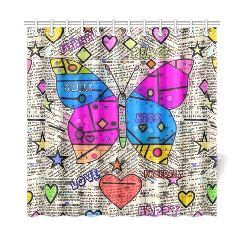 "Popart News Paper by Nico Bielow Shower Curtain 72""x72"""