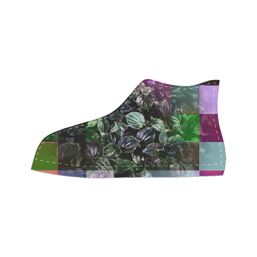 Foliage Patchwork #13 - Jera Nour High Top Canvas Women's Shoes/Large Size (Model 017)