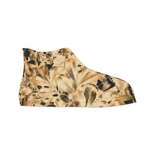 Foliage #2 Gold - Jera Nour High Top Canvas Women's Shoes/Large Size (Model 017)