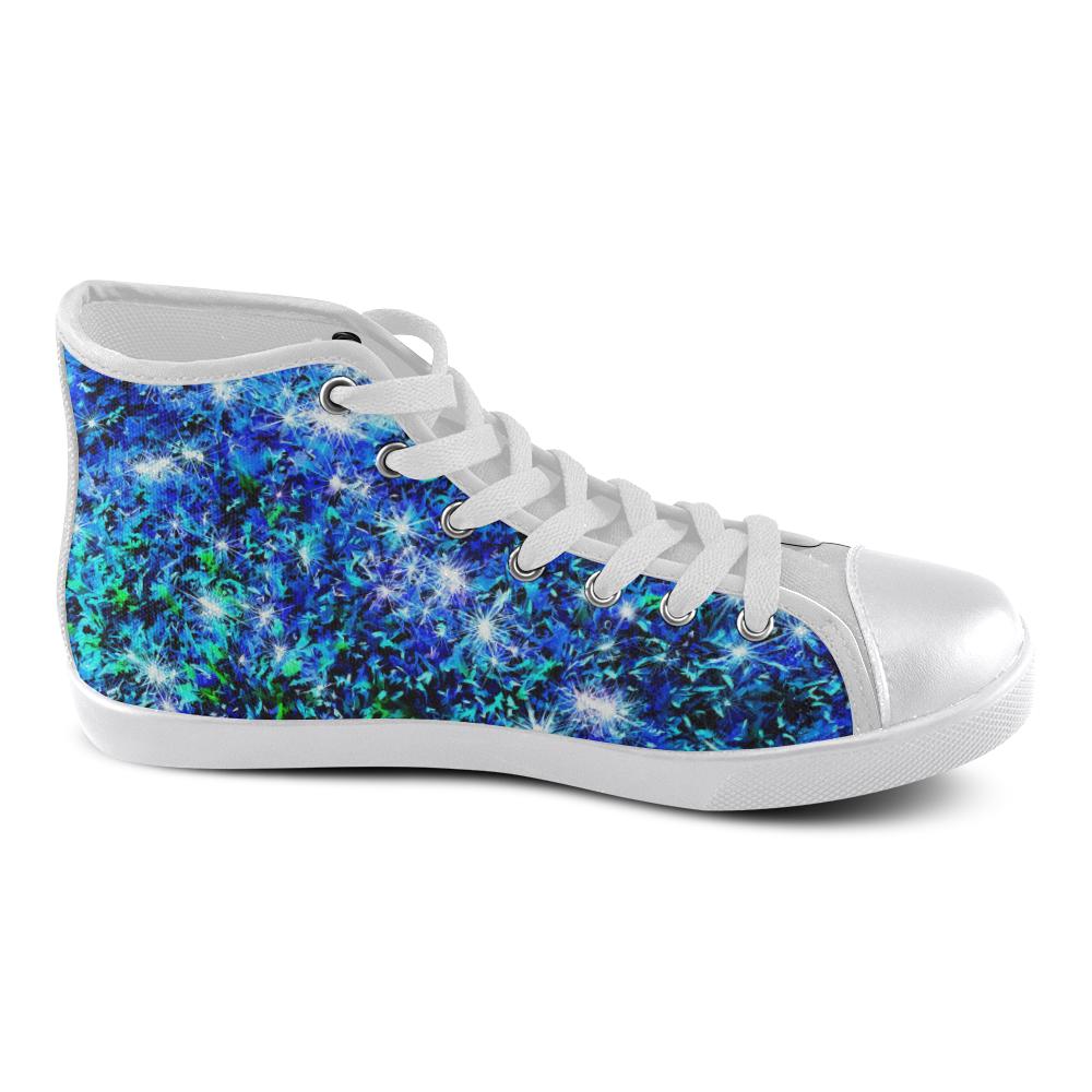 Sparkling Blue - Jera Nour High Top Canvas Women's Shoes/Large Size (Model 002)
