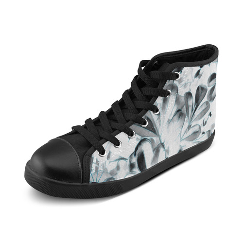 Foliage #1 Blue Edge - Jera Nour High Top Canvas Women's Shoes/Large Size (Model 002)